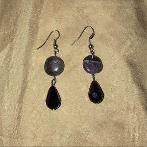 Jewelry - New! Never used! Pretty purple marble earrings!!